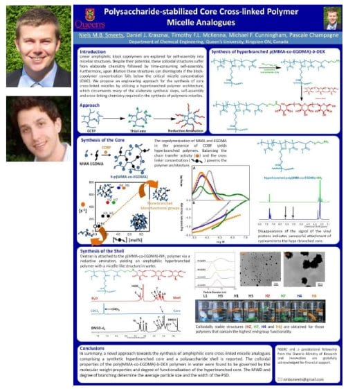 Niels Smeets, Daniel Krasznai, and the winning poster on core cross-linked polymer micelle analogues