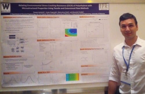 Pouyan Sardashti and the winning poster on the environmental stress cracking resistance of polyethylene