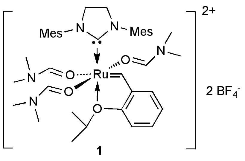The highly electrophilic dicationic ruthenium-alkylidene complex