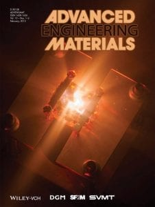 Font cover of Advanced Engineering Materials showing hypervelocity impact testing