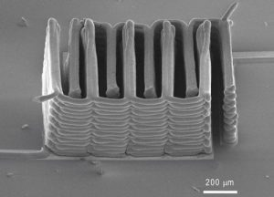 A research team from Harvard University and the University of Illinois at Urbana-Champaign has demonstrated the ability to 3D print a battery.  This image shows the interlaced stack of electrodes that were printed layer by layer to create the working anode and cathode of a microbattery. Image: Jennifer A. Lewis.