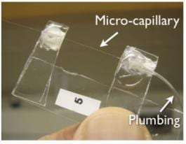 Microfluidic optomechanical capillary resonator with fluid control tubing
