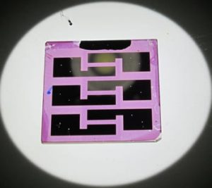 Researchers at Rice and Pennsylvania State universities have created solar cells based on block copolymers, self-assembling organic materials that arrange themselves into distinct layers. Image: Verduzco Laboratory.