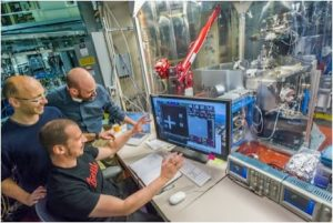 Goldberg, with team members Iacopo Mochi and Markus Benk, gather around the control center for the SHARP microscope, an extreme-ultraviolet-wavelength microscope dedicated to photomask imaging for the commercialization of EUV photolithography.