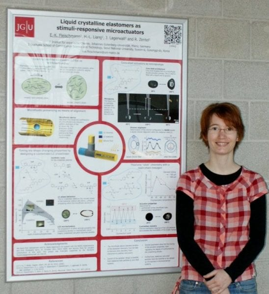 Eva Fleischmann and the winning poster on stimuli-responsive microactuators