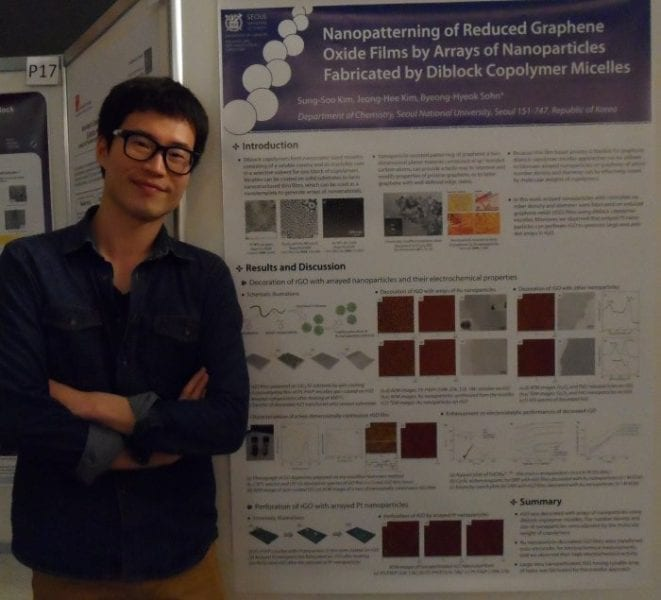 Sung-Soo Kim and the winning poster on nanoparticle arrays