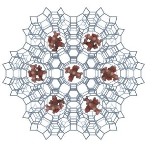 Zeolite L is an electrically insulating aluminosilicate crystalline system, which consists of many channels running through the whole crystal and oriented parallel to the cylinder axis. The geometrical constraints of the zeolite host structure allow for the formation of one-dimensional chains of highly uniaxially oriented molecules.