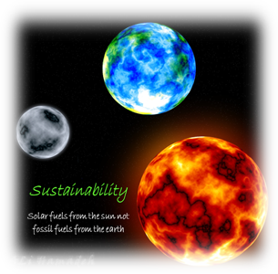 Fig. 4: Interplay between solar fuels from the sun and fossil fuels from the earth. Adapted from loadpaper.com