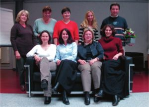 The Advanced Materials team in 2003. Back (from left to right) Agnes Petersen (production), Joanna Bleßmann, Susanne Stoll, Melanie Schmitt (admin), Andreas Muth (web) Front: Victoria Cleave, Esther Levy, Renate Dötzer, and Karen Grieve (editorial).