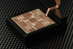 Laser-welded copper ribbon bond. Image copyright Fraunhofer ILT, Aachen.