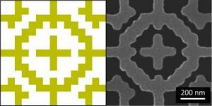 (l) This is a drawing of the metamaterial absorber pattern. (r) This is an actual metamaterial absorber pattern.Image: Bossard, Penn State