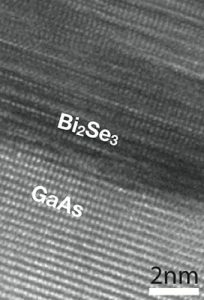 The atomic layers of the topological insulator bismuth selenide are visible in this high-resolution electron microscope image. Credit: Penn State.