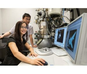 Haimei Zheng and Hong-Gang Liao used TEMs at the National Center for Electron Microscopy and a K2-IS camera to record the first direct observations of facet formation in platinum nanocubes. Photo by Kelly Owen.