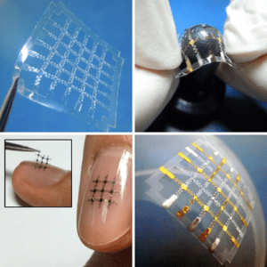 Images of an organic-based electrical device on a highly flexible, stretchable, and patchable freestanding polymeric substrate.