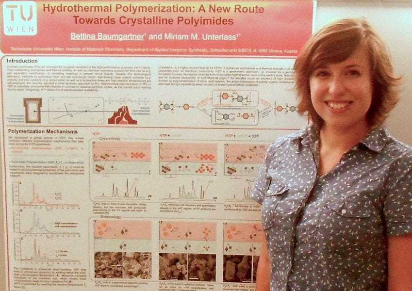 Bettina Baumgartner and the winning poster on high-performance polyimides