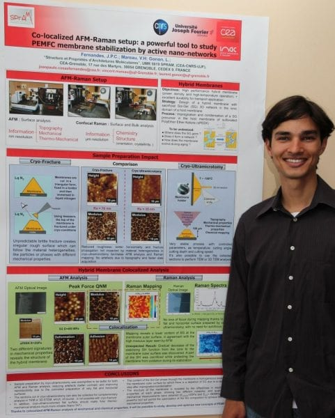 Joao Paulo Cosas Fernandes and the winning poster on a co-localized AFM-Raman setup