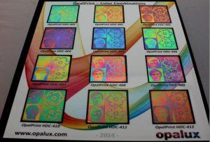 OpalPrint color combinations – courtesy of Opalux Inc.