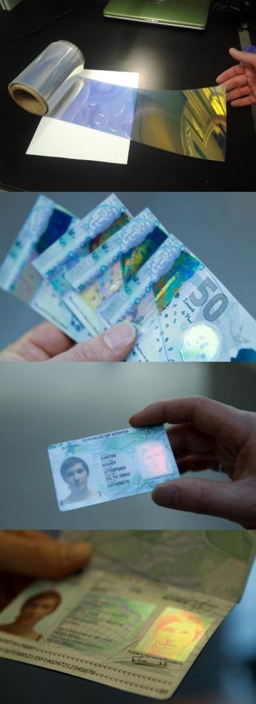 OpalPrint roll-to-roll manufactured photonic color base material fabricated into product specific security features on banknotes, identification cards and passports – courtesy of Opalux Inc.