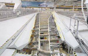 The -1,000 test wing in the A350 factory