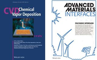 The cover (frontispiece) of Advanced Materials Interfaces features the Review by Karen Gleason on CVD polymerization for engineering macro and micro scale interfaces for a sustainable world. Polymeric Interfaces: A Route Towards Sustainability Through Engineered Polymeric Interfaces (Adv. Mater. Interfaces 4/2014)