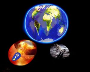 "This composite image, courtesy of Todd Siler and Geoffrey Ozin www.artnanoinnovations.com, visually implies that from two past unprecedented large-scale collaborations, a contrast of two destructive and constructive events, a new and benevolent enterprise, ""a global CO2 utilization strategy"", can leverage the collective knowledge and wisdom gained from these earlier works to change the world in an entirely compassionate and environmentally responsible way. The ""visual weights"" of these images emphasizes the Earth and everything we're doing now to preserve it while acknowledging the ever present reality of nuclear war, which is symbolic of all kinds of ""disruptive"" technologies we choose to create for defensive reasons. Also, implicit in the images is the visceral feeling that if our world leaders do not choose wisely now, we can end up inadvertently and irreversibly upsetting our planet."