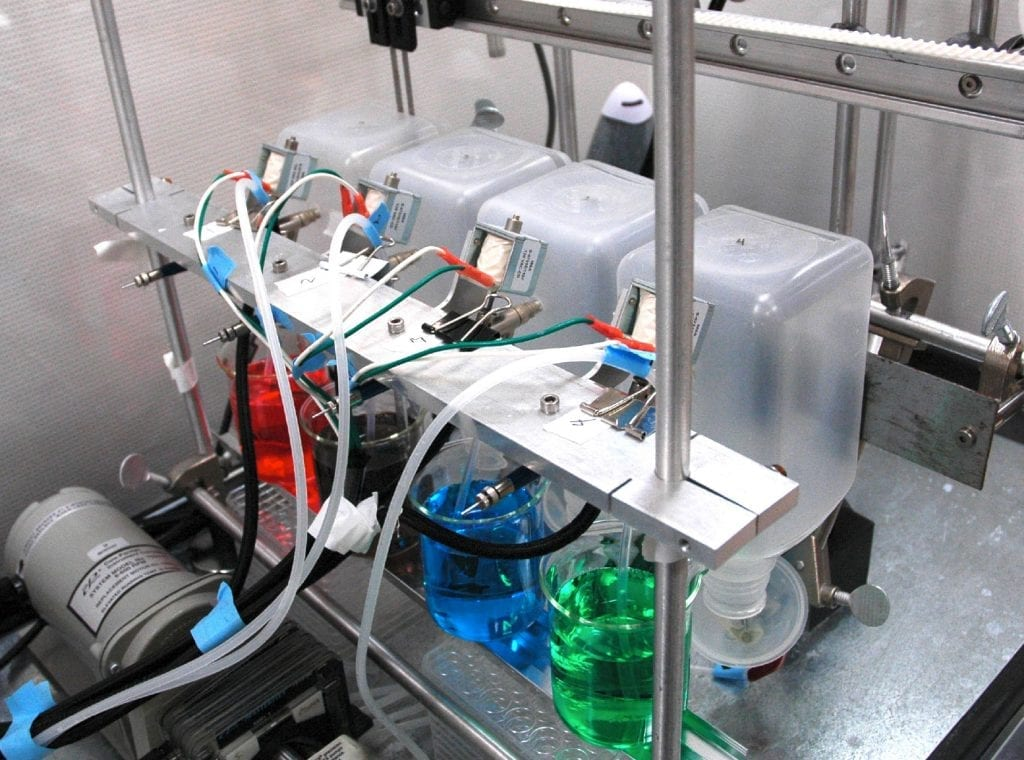 Photograph of the set-up for fabricating the four-layer films.