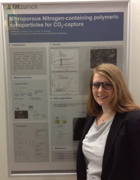 Anna Beltzung and the winning poster on macroporous clusters from polymeric nanoparticles