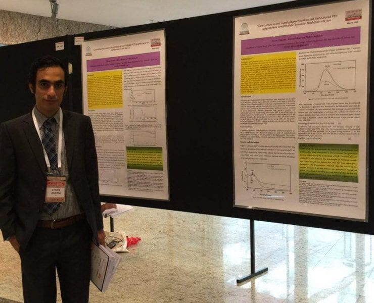 Ehsan Zamani and the wining poster on self-colored poly(ethylene terephthalate)