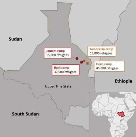 location of refugee camp south sudan