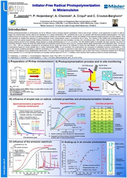 Florent Jasinski's winning poster on initiator-free photopolymerization in miniemulsion