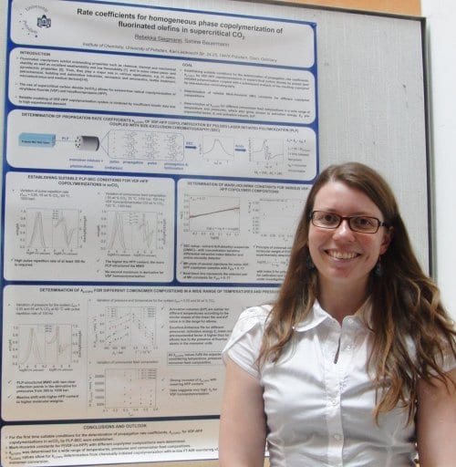 Rebekka Siegmann and the winning poster on homogeneous phase copolymerization