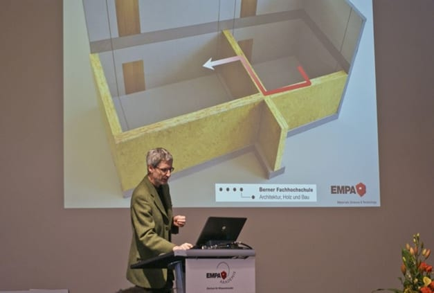 The lightweight structure problem: how does acoustic energy propagate through a wooden house? Kurt Eggenschwiler, of Empa's Acoustic Laboratory explains the details. Image: Empa.