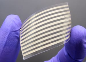The silver nanowires can be printed to fabricate patterned stretchable conductors.