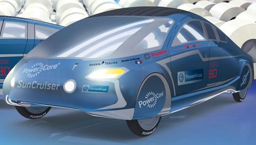 Solar car with motor materials from thyssenkrupp for Mitsuba motor solar car