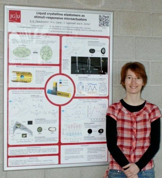 Eva Fleischmann and the winning poster on stimuli-responsive microactuators