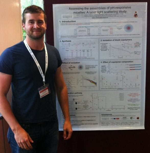 Daniel Wright and the winning poster on assemblies of pH-responsive micelles