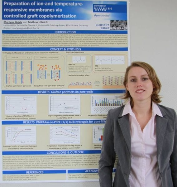Martyna Gajda and the winning poster on responsive membranes