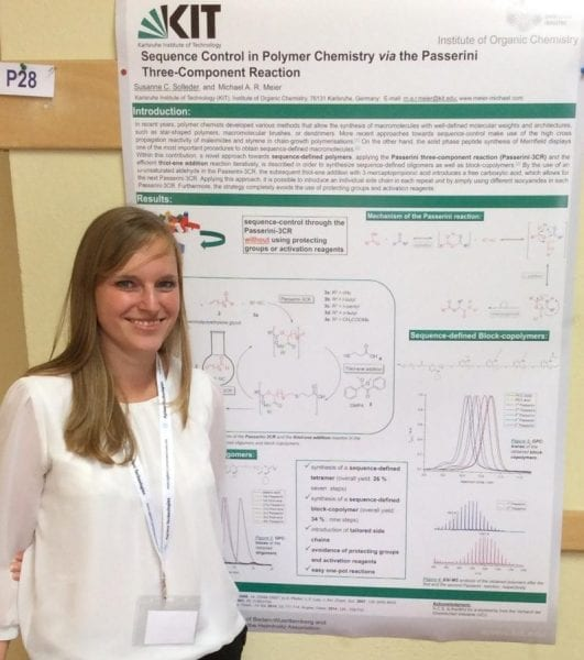 Susanne Solleder and the winning poster on sequence control in polymer chemistry