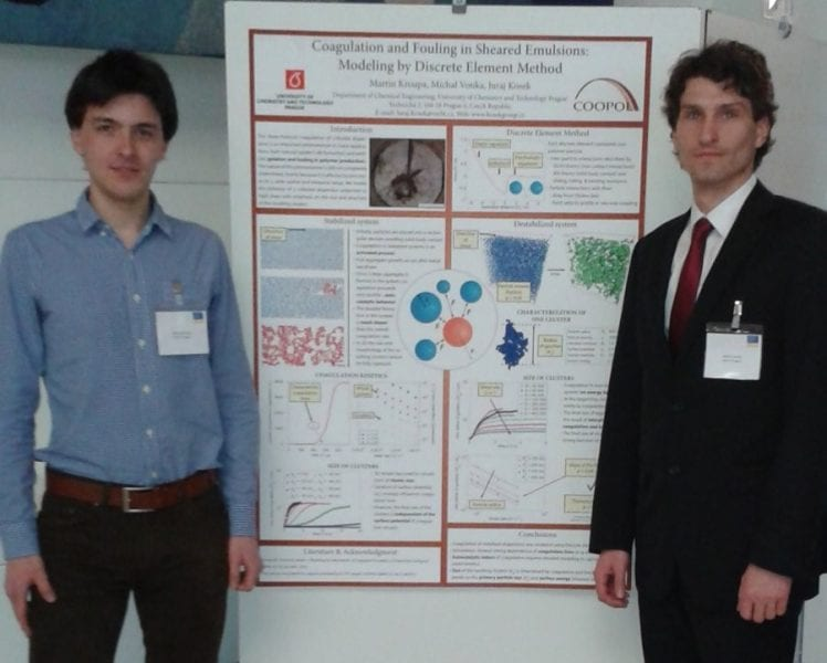 Martin Kroupa (left), Michal Vonka (right), and the winning poster on modeling sheared emulsions