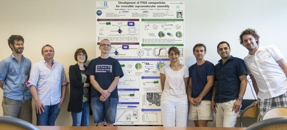 Members of the ANR STRAPA team and the winning poster on PISA Nanoparticles: Matthieu Fumagalli, François Stoffelbach, Aurélie Malfait, Patrice Woisel, Muriel Lansalot, Franck D'Agosto, Khaled Belal, Bastian Ebeling (left to right).