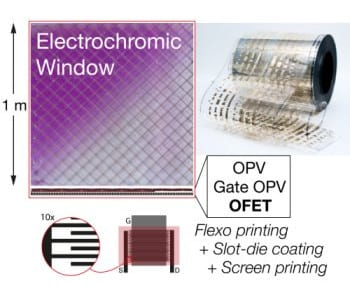 Roll-to-roll printing of flexible organic power transistors