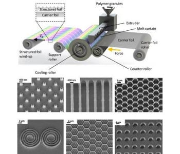 Fabrication of nanostructures by roll-to-roll extrusion coating