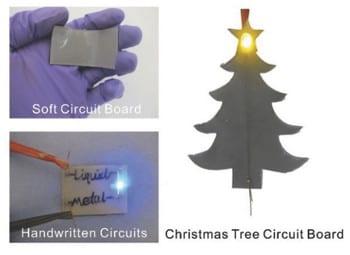 Handwritten, soft circuit boards using nanoparticles