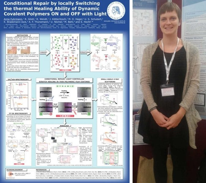 Anne Fuhrmann and the winning poster on dynamic covalent polymers