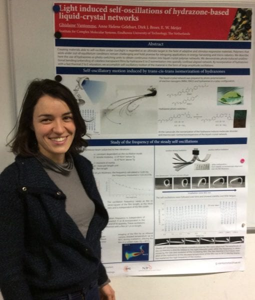 Ghislaine Vantomme and the winning poster on light induced self-oscillations
