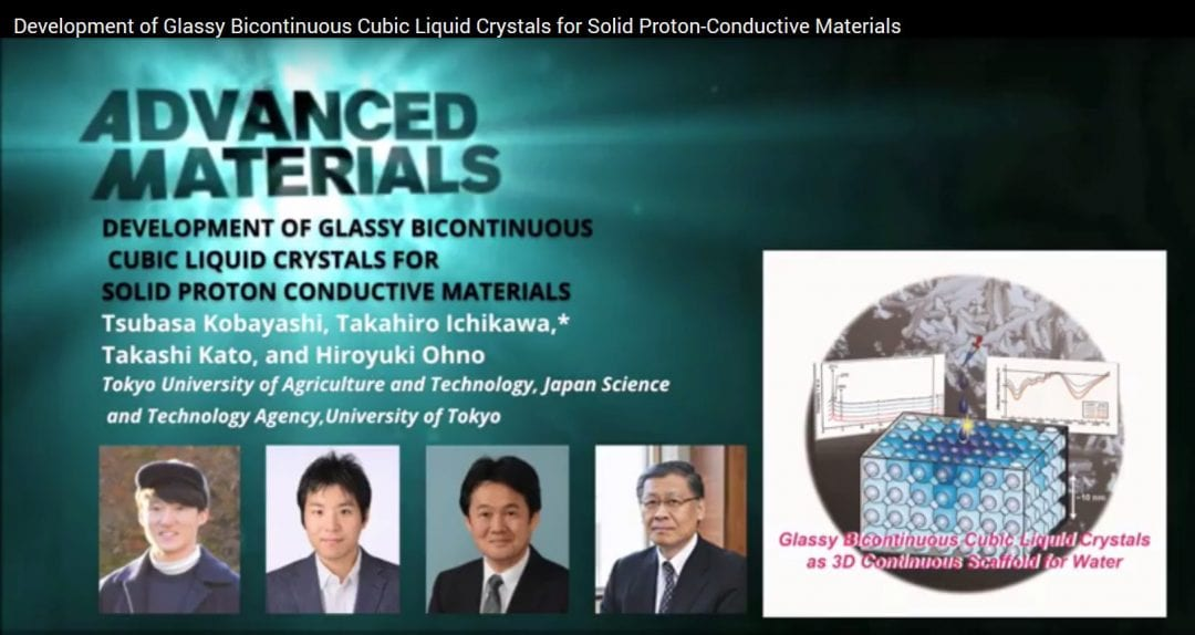 Development of Glassy Bicontinuous Cubic Liquid Crystals for Solid Proton-Conductive Materials