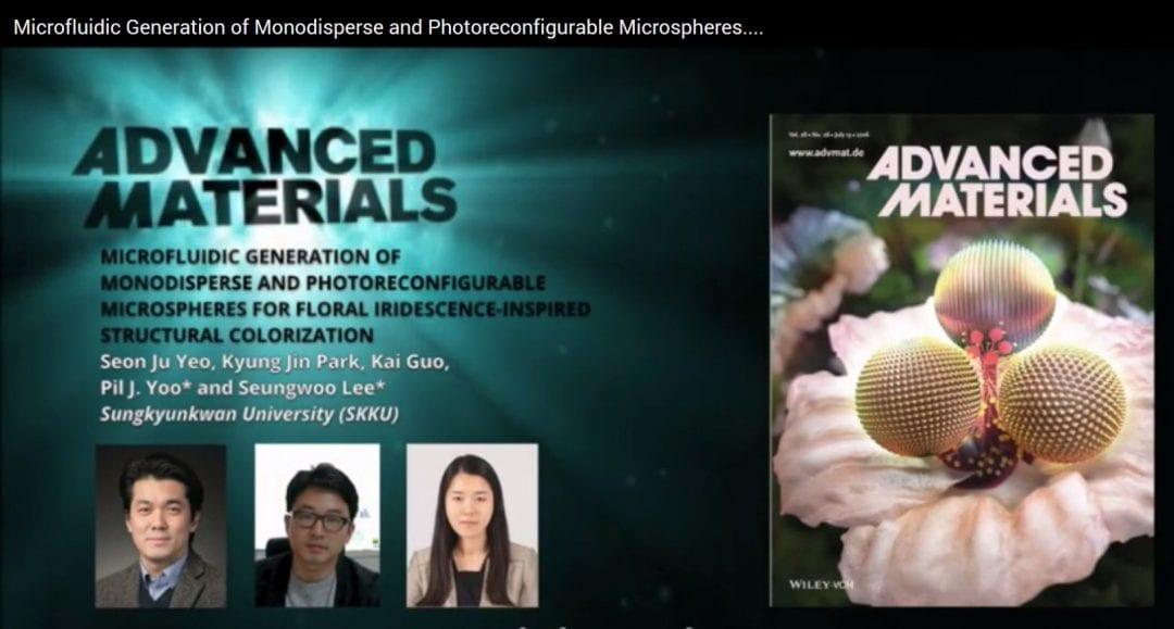 Photoreconfigurable floral iridescent microspheres