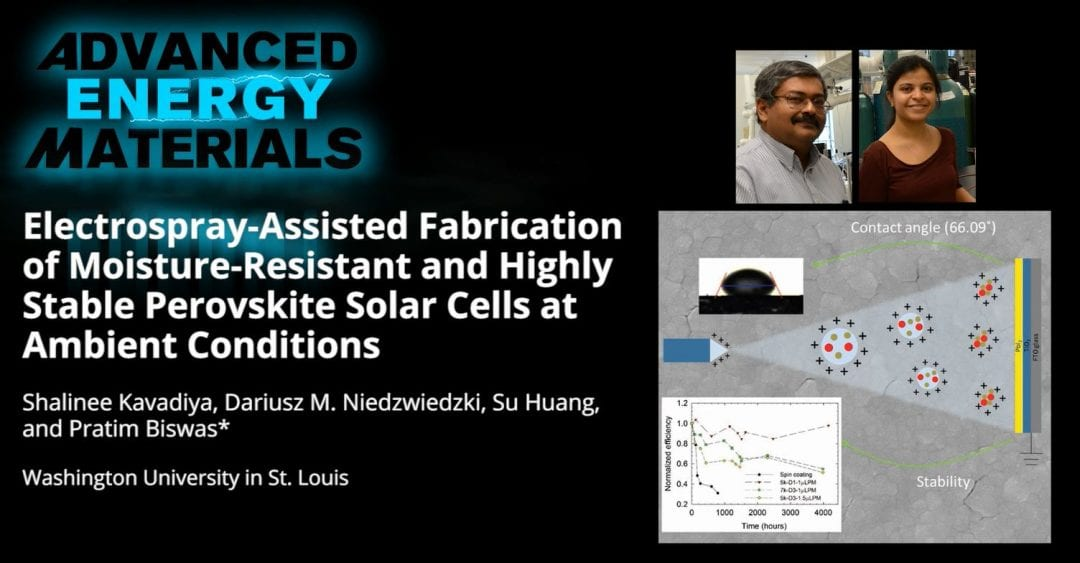 Electrospray-Assisted Fabrication of Moisture-Resistant and Highly Stable Perovskite Solar Cells