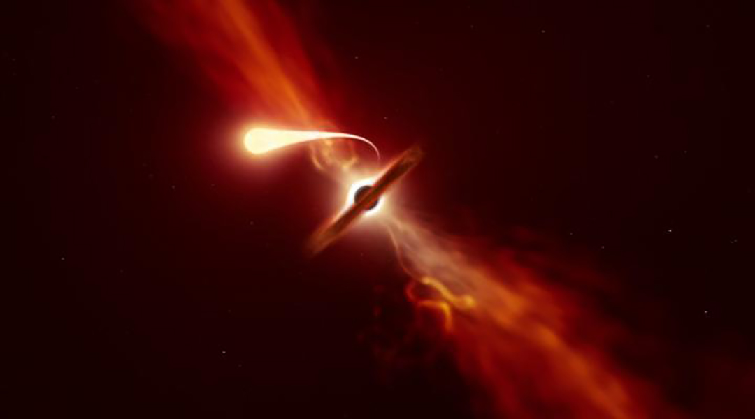 """Astronomers record last moments of star as it's devoured by a black hole and turned into """"spaghetti"""""""
